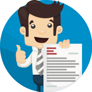 Man holding contract illustration